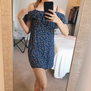 Forever 21 Blue/Navy Off-Shoulder Floral Dress